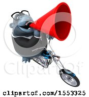Clipart Of A 3d Business Gorilla Mascot Biker Riding A Chopper Motorcycle On A White Background Royalty Free Illustration
