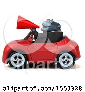 Clipart Of A 3d Business Gorilla Mascot Driving A Convertible On A White Background Royalty Free Illustration