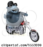 Clipart Of A 3d Gorilla Mascot Biker Riding A Chopper Motorcycle On A White Background Royalty Free Illustration
