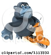 Clipart Of A 3d Gorilla Mascot Riding A Scooter On A White Background Royalty Free Illustration