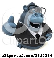Clipart Of A 3d Business Gorilla Mascot Holding A Thumb Up On A White Background Royalty Free Illustration