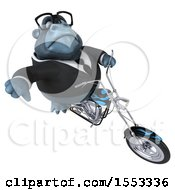 Clipart Of A 3d Business Gorilla Mascot Riding A Chopper Motorcycle On A White Background Royalty Free Illustration