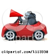 Clipart Of A 3d Gorilla Mascot Driving A Convertible On A White Background Royalty Free Illustration