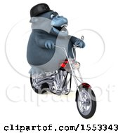 Clipart Of A 3d Gorilla Mascot Riding A Chopper Motorcycle On A White Background Royalty Free Illustration