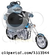 Clipart Of A 3d Business Gorilla Mascot Riding A Chopper Motorcycle On A White Background Royalty Free Illustration by Julos