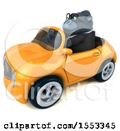 Clipart Of A 3d Business Gorilla Mascot Driving A Convertible On A White Background Royalty Free Illustration by Julos