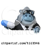 Clipart Of A 3d Business Gorilla Mascot Holding A Pill On A White Background Royalty Free Illustration by Julos