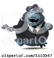 Clipart Of A 3d Business Gorilla Mascot Holding A Wrench On A White Background Royalty Free Illustration by Julos