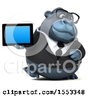 Clipart Of A 3d Business Gorilla Mascot Holding A Tablet On A White Background Royalty Free Illustration by Julos