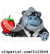 Clipart Of A 3d Business Gorilla Mascot Holding A Strawberry On A White Background Royalty Free Illustration by Julos