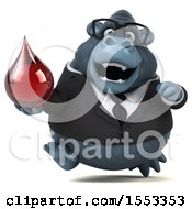 Clipart Of A 3d Business Gorilla Mascot Holding A Blood Drop On A White Background Royalty Free Illustration by Julos