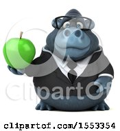 Clipart Of A 3d Business Gorilla Mascot Holding An Apple On A White Background Royalty Free Illustration by Julos