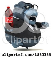 Clipart Of A 3d Business Gorilla Mascot Holding A Soda On A White Background Royalty Free Illustration by Julos