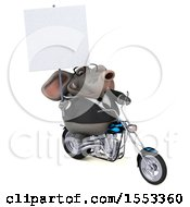 Clipart Of A 3d Business Elephant Biker Riding A Chopper Motorcycle On A White Background Royalty Free Illustration