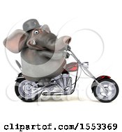 Clipart Of A 3d Elephant Biker Riding A Chopper Motorcycle On A White Background Royalty Free Illustration