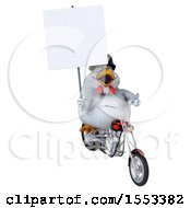 Clipart Of A 3d Chubby White Chicken Biker Riding A Chopper Motorcycle On A White Background Royalty Free Illustration