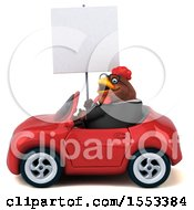 Clipart Of A 3d Chubby Brown Business Chicken Driving A Convertible On A White Background Royalty Free Illustration