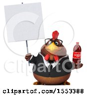 Poster, Art Print Of 3d Chubby Brown Business Chicken Holding A Soda On A White Background