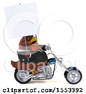 Clipart Of A 3d Chubby Brown Business Chicken Riding A Chopper Motorcycle On A White Background Royalty Free Illustration