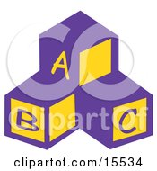 Three Blocks In A Nursery Room With The Letters A B And C Clipart Illustration