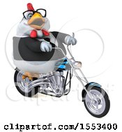 Clipart Of A 3d Chubby White Business Chicken Biker Riding A Chopper Motorcycle On A White Background Royalty Free Illustration