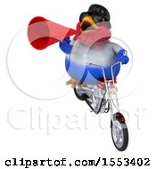 Clipart Of A 3d Chubby French Chicken Biker Riding A Chopper Motorcycle On A White Background Royalty Free Illustration