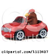 Clipart Of A 3d Chubby Brown Chicken Driving A Convertible On A White Background Royalty Free Illustration
