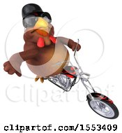 Clipart Of A 3d Chubby Brown Chicken Biker Riding A Chopper Motorcycle On A White Background Royalty Free Illustration