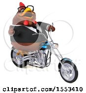 Clipart Of A 3d Chubby Brown Business Chicken Biker Riding A Chopper Motorcycle On A White Background Royalty Free Illustration