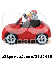 Clipart Of A 3d Chubby White Business Chicken Driving A Convertible On A White Background Royalty Free Illustration