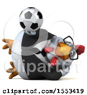 Clipart Of A 3d Chubby White Business Chicken Holding A Soccer Ball On A White Background Royalty Free Illustration