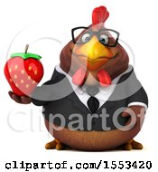 Clipart Of A 3d Chubby Brown Business Chicken Holding A Strawberry On A White Background Royalty Free Illustration