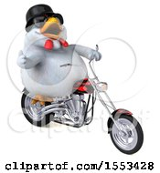 Clipart Of A 3d Chubby White Chicken Riding A Chopper Motorcycle On A White Background Royalty Free Illustration