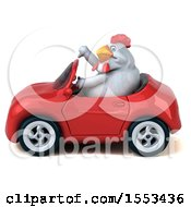 Clipart Of A 3d Chubby White Chicken Driving A Convertible On A White Background Royalty Free Illustration