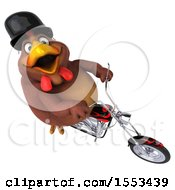 Clipart Of A 3d Chubby Brown Chicken Riding A Chopper Motorcycle On A White Background Royalty Free Illustration