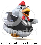 Clipart Of A 3d Chubby White Business Chicken Holding A Euro On A White Background Royalty Free Illustration
