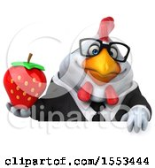 Clipart Of A 3d Chubby White Business Chicken Holding A Strawberry On A White Background Royalty Free Illustration