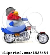 Clipart Of A 3d Chubby French Chicken Riding A Chopper Motorcycle On A White Background Royalty Free Illustration