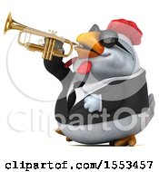 3d Chubby White Business Chicken Playing A Trumpet On A White Background