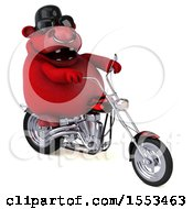 Clipart Of A 3d Red Bull Biker Riding A Chopper Motorcycle On A White Background Royalty Free Illustration