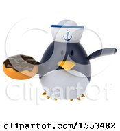 Clipart Of A 3d Chubby Penguin Sailor Holding A Donut On A White Background Royalty Free Illustration