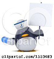 Clipart Of A 3d Chubby Penguin Sailor Holding A Pill On A White Background Royalty Free Illustration