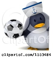 Clipart Of A 3d Chubby Penguin Sailor Holding A Soccer Ball On A White Background Royalty Free Illustration