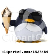 3d Chubby Penguin Holding A Waffle Cone On A White Background