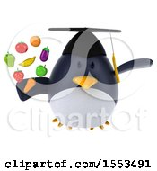 3d Chubby Penguin Graduate Holding Produce On A White Background
