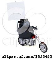Clipart Of A 3d Black Bull Biker Riding A Chopper Motorcycle On A White Background Royalty Free Illustration by Julos
