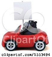 Clipart Of A 3d Black Bull Driving A Convertible On A White Background Royalty Free Illustration