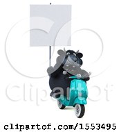 Clipart Of A 3d Black Bull Riding A Scooter On A White Background Royalty Free Illustration
