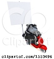 Clipart Of A 3d Black Business Bull Riding A Scooter On A White Background Royalty Free Illustration by Julos