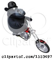 Clipart Of A 3d Black Bull Biker Riding A Chopper Motorcycle On A White Background Royalty Free Illustration